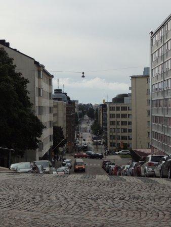 Kallio Church: Looking back down the street