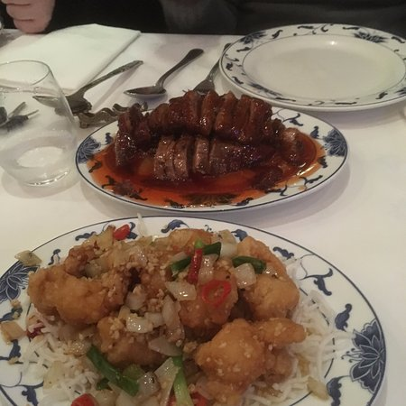 Southbourne, UK: The one nearest is garlic prawns the the other is Beijing duck with plum sauce
