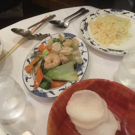 Southbourne, UK: Seafood bonanza with egg fried rice and prawn crackers