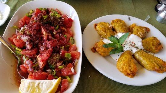 Ortahisar, Turkiet: Tomato, cucumber, red onion, green pepper salad topped w/ sumac; stuffed pumkin blossoms w/ yogu