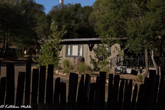 The Madrones: Logger's Cabin from storage yard