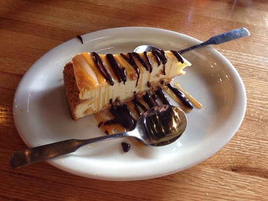 Muskogee, OK: New York cheesecake with caramel  and chocolate sauce.   Fried pickles with ranch.