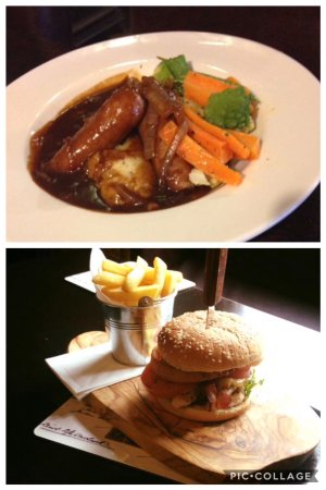 Presteigne, UK: Cumberland sausage with mustard mash with onion and red wine gravy. £9.50 incl drink