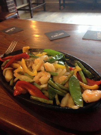 Presteigne, UK: Lots of varius sort of sizzlers, this one is a sweet chilli king prawn £10.50 incl drink