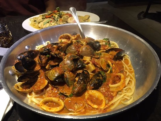 Whitehall, PA: Zuppa di Pesce (note the size against the other dish)