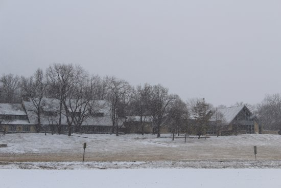 Grafton, IL: A view of the lodge on a snowy day a couple years ago.