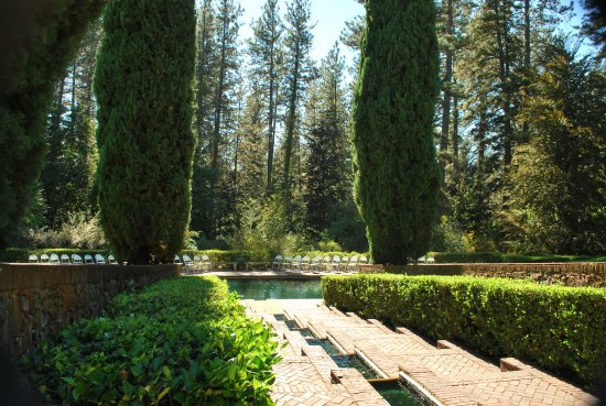 Nevada City, CA: Reflective Pool with cascading fountain- Bourn Cottage, Empire Mine