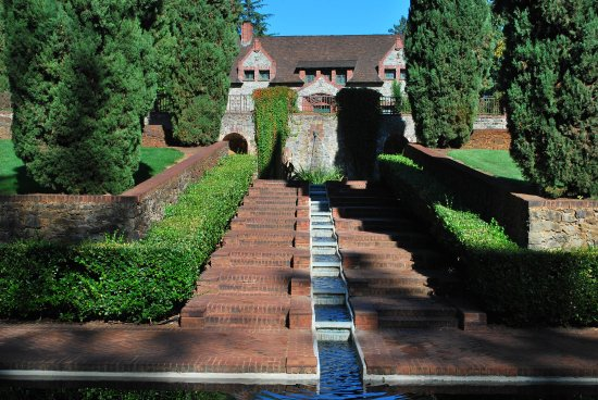Nevada City, CA: View from the lower Reflective Pool and Cascading Fountain
