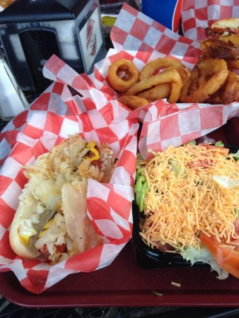 East Aurora, NY: onion rings, sauerkraut dog, side salad
