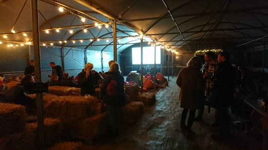 Great Missenden, UK: Poly tunnel cinema, straw bale and bean bag seating