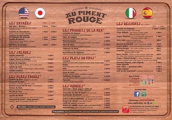 Au Piment Rouge : Menu en français
