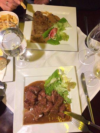 Le Jardin de l'Ilot Sacre: Beef stew (down) & beef fillet (up)