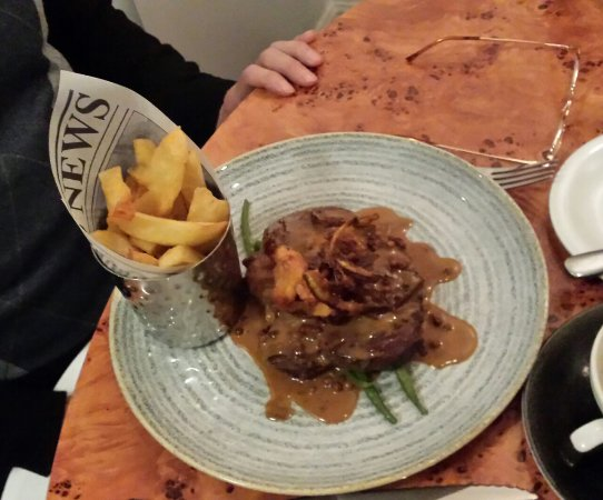Cafe 1: Ribeye Steak with Peppercorn Sauce and Handcut Fries