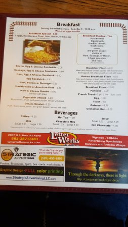 Calmar, IA: breakfast menu