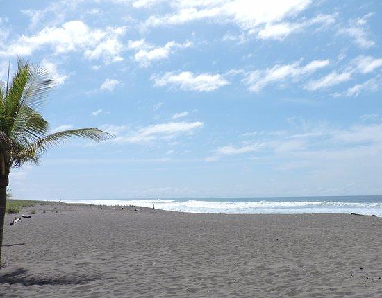 Hotel Las Olas Beach Resort: Vista desde la habitacion con un zoom de la camara donde se ve lo despejado del amanecer.