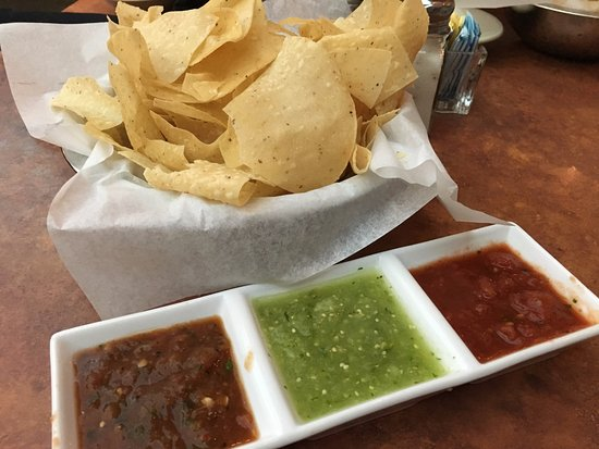 Abuelo's: Complimentary chips and 3 salsas (spicy, medium, mild)