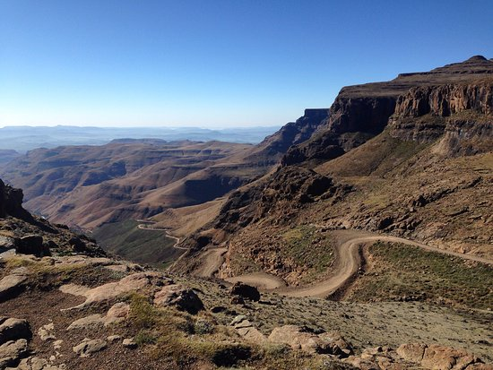 View from Sani Mountain Lodge in Lesotho onto the Sani Pass in South Africa.