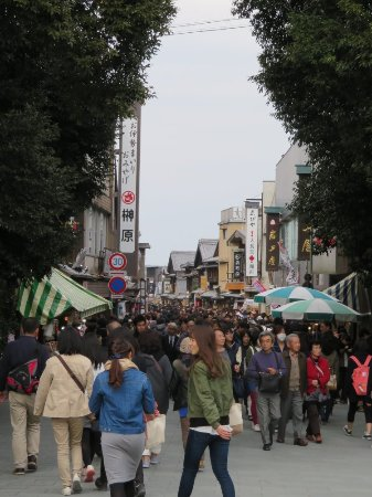 View of Oharai-machi from the entrance gate to Ise Jinguu. The street was packed with visitors.