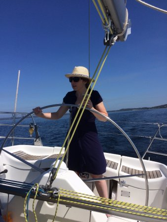 Albany, Australia: Never before stepped aboard a yacht, but was handed the helm as soon as we left the dock
