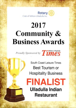 2015 and 2016 winner awards restaurant  Best Indian cuisine at ulladulla