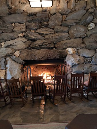 Large Natural Stone Fireplace In The Main Lobby Picture Of The
