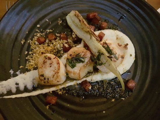 Milton of Campsie, UK: Scallops on a celeriac puree with fennel, lardons and a breadcrumb