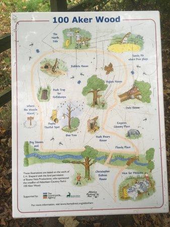 Elstree, UK: Guide Map to 100 Aker Wood Walk