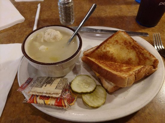 Mauston, WI: Chicken dumpling soup and grilled cheese