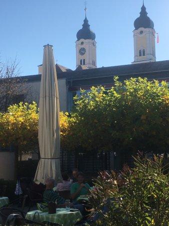 Roggenburg, Germany: Blick vom Biergarten zu Klosterkirche