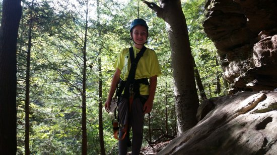 Rockbridge, OH: This was my oldest(9 years old) first time on a Adult Zip, Carly and Holden help ease his anxiet
