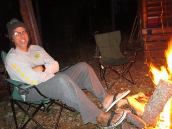 Columbia Falls, MT: hanging by the fire at night before turning in for a good sleep