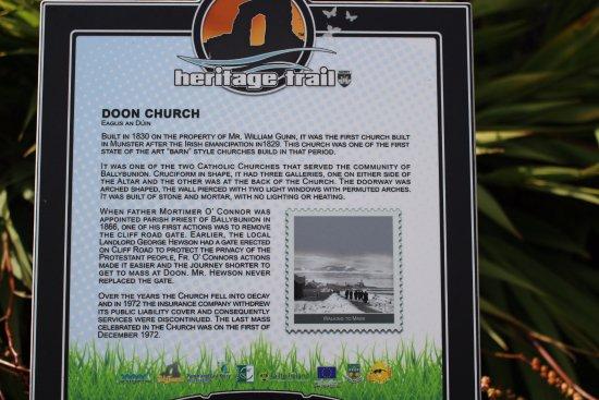 Doon Church: Plaque explaining the church