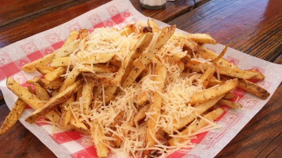 Dunkirk, NY: Fresh cut Parmesan fries with a butter garlic toss.
