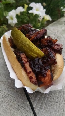 Dunkirk, NY: A quality local dog, topped with BBQ pork.
