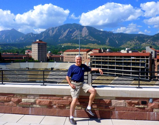 In Folsom Field at beautiful CU Boulder with the Flatirons in the background.