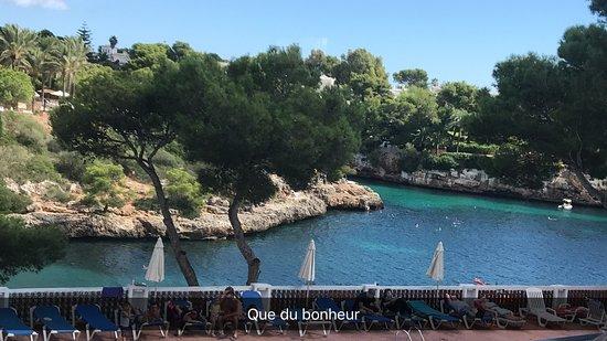 Hotel Cala Ferrera: vue sur la crique depuis la piscine