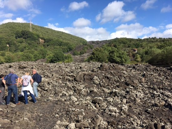 Zafferana Etnea, Italy: Grouping around her for learning about volcano flow we're standing on.
