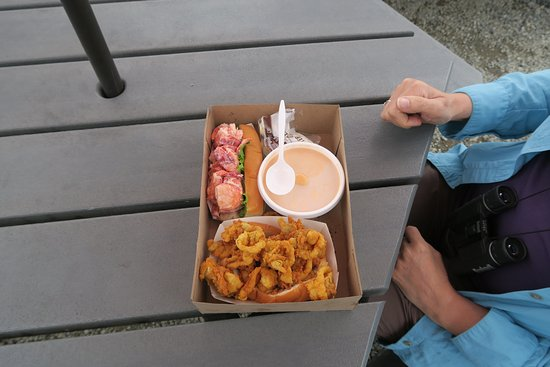 Fox's Lobster House: Clam strips, Lobster Roll and Lobster Bisque. All were good but the Clam Strips were the best!