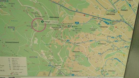 Janoshegy: Карта при выходе с канатной дороги