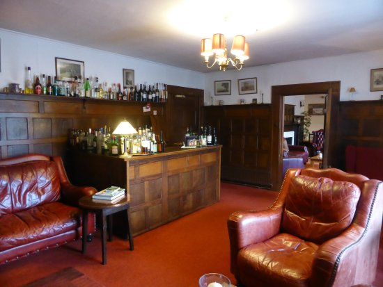 Simonsbath, UK: more wood panelling and leather sofas and chairs in the bar