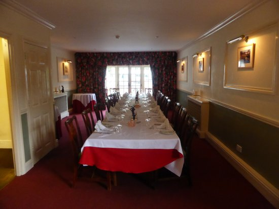 Simonsbath, UK: the grand dining room laid out for our group of 21