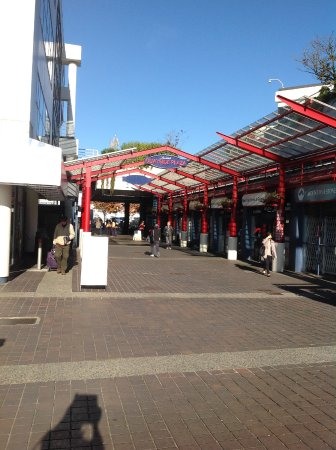 North Vancouver, Canada: Lane of shops heading toward the Seabus terminal