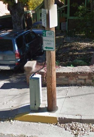 """Downtown Manitou Springs: And here are the two supposedly """"more visible"""" signs."""