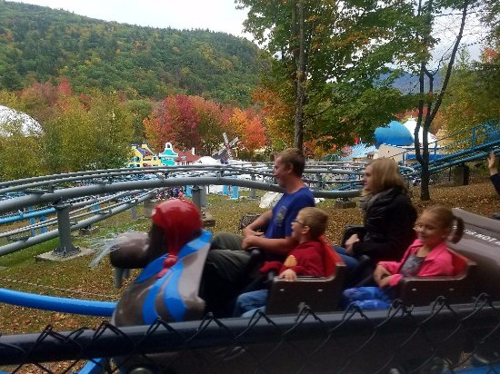 Story Land: the view from the polar coaster with the leaves changing color in the background