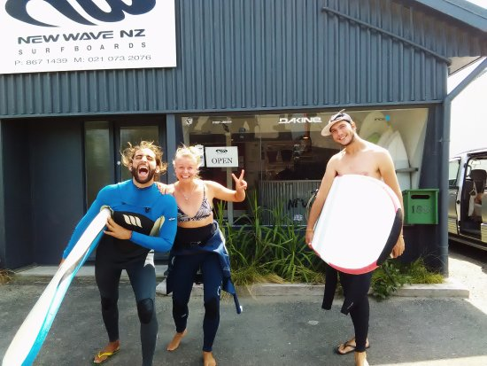 Gisborne, New Zealand: This crew from Germany, ready to hit the waves!