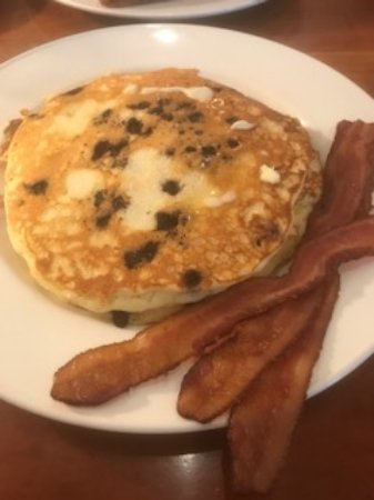 Noah's Restaurant: Homemade fluffy blueberry pancakes with applewood bacon. Blueberries from local farm.