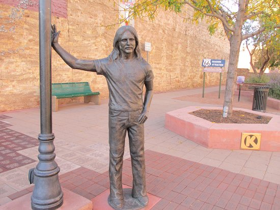 Winslow, AZ: Statue of Glen Frey of The Eagles, erected in 2016 after his death.