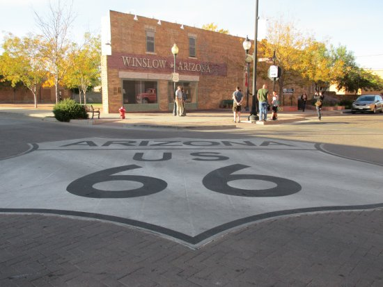 Winslow, AZ: The Route 66 sign in the middle of the intersection.