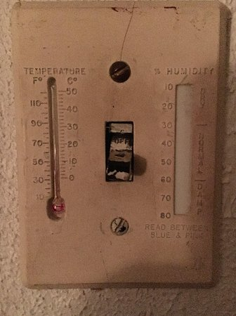 Felice Patra Inn: To give you an idea of how old this whole room is, here is the light switch.