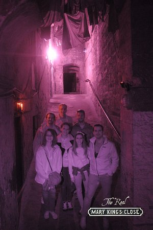 The Real Mary King's Close: Creepy photo of us at the end of the tour, so fun!